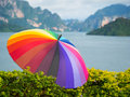 Colorful on umbrella segments on mountain hill Royalty Free Stock Photo