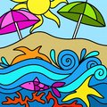 Colorful umbrellas and beach drawing with Stock Image