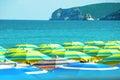 Colorful umbrellas crowded beach italy summer gargano Royalty Free Stock Photo
