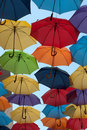 Colorful umbrellas lots of opposite opposite sky in the city of belgrade serbia Stock Images