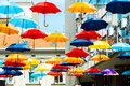 Colorful umbrellas street decoration with belgrade serbia Royalty Free Stock Photo