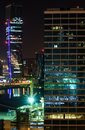 Colorful urban night scene in Dubai Royalty Free Stock Photo