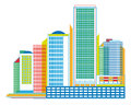 Colorful urban panorama with skyscrapers geometrical graphic geometric structures Stock Image