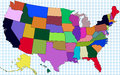 Colorful USA Map Royalty Free Stock Photography