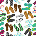 Colorful variation of flip flops summer shoes seamless pattern eps10 Royalty Free Stock Photo