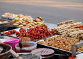 Colorful and variety of street food in downtown bangkok cities in everyday life in thailand here fried bbq meatball Royalty Free Stock Images