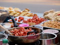 Colorful and variety of street food in downtown bangkok cities in everyday life in thailand here fried bbq meatball Stock Image
