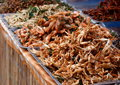 Colorful and variety of street food in downtown bangkok cities in everyday life in thailand here fried crabs insects Stock Image