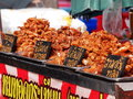 Colorful and variety of street food in downtown bangkok cities in everyday life in thailand here fried pork chicken meat Royalty Free Stock Photography