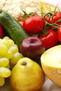 Colorful various fruits and vegetables assorted vibrant color Stock Photos