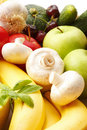 Colorful various fruits and vegetables assorted vibrant color Stock Photo