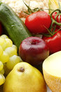Colorful various fruits and vegetables assorted vibrant color Royalty Free Stock Photos