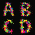 Colorful vector alphabet with blots ABCD