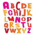 Colorful vector alphabet letters on white illustra pink red and yellow illustration Royalty Free Stock Photo