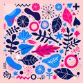 Colorful vector background with hand drawn floral elements. Can be used for advertising, web design and printed media. Royalty Free Stock Photo