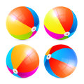 Colorful vector beach balls set on white background Stock Photos