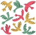 Colorful vector birds icon set