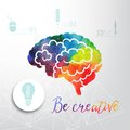 Colorful vector brain icon, banner and business icon. Watercolor creative concept. Vector concept - creativity and brain. Letterin