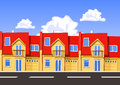 Colorful vector city row building illustration Stock Photos