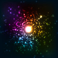 Colorful vector cosmic explosion neon lights abstract Stock Image