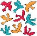 Colorful vector doodle birds icon set