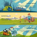 Colorful vector flat banner set quality design illustrations elements and concept the history of mountaineering unforgettable Royalty Free Stock Photo