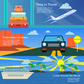 Colorful vector flat banners set. Quality design illustrations, elements and concept. Flying airplane. Car. Cruise Liner Ship.