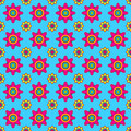 Colorful vector floral pattern seamless pink and yellow flowers on blue background Stock Images