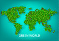 Colorful vector illustration green world concept. World map with