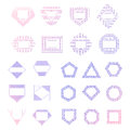 Colorful vector logo templates set of mono line hipster outline elements for badge logotype label design Stock Images