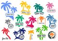 Colorful vector palm tree silhouette logo set
