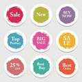 Colorful vector paper circle, sticker, label, banner with brush strokes. Royalty Free Stock Photo
