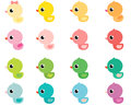 Colorful vector rubber ducks Royalty Free Stock Photo