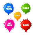 Colorful vector sale hot price blots splashes tags isolated on white background Stock Images