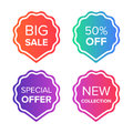 Colorful vector sale tags and badges set. Big sale, special offer, price off, new collection badges. Promotion banner Royalty Free Stock Photo