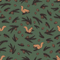 Colorful vector seamless pattern with squirrels, fir branches and pine cones.