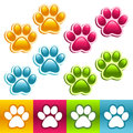 Colorful vector set animal paw icons Royalty Free Stock Photos