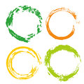 Colorful vector set with rainbow circle brush strokes for frames, icons, banner design elements Royalty Free Stock Photo