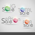 Colorful vector set of sale icons illustration eps Royalty Free Stock Photo