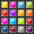 Colorful vector square glass buttons set on transparent background Stock Image