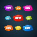 Colorful vector stickers stains set with new title on dark background Royalty Free Stock Image