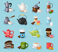 Colorful vector tea and coffee icons set