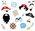 A colorful vector Theme of Pirate. equipments, props and icons