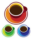 Colorful vectors: coffee cups top view Stock Photos