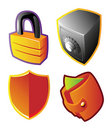 Colorful vectors: finance and security Royalty Free Stock Image