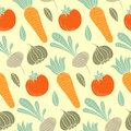 Colorful vegetable vector seamless pattern with carrot, tomato, turnip, radish etc. Organic food hand drawn background.