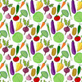 Colorful vegetables hand drawn seamless pattern. Vector illustration. Vegetable stylized background for design.