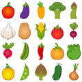 Colorful vegetables set cartoon style collection of twenty colourful vegetable icons or symbols isolated on white background red Stock Photo