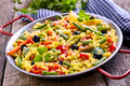 Colorful Vegetarian Paella Rice Dish Served in Pan Royalty Free Stock Photo