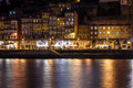Colorful view at twilight along the riverfront with lights reflecting in the Douro River Royalty Free Stock Images